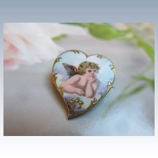 Antique Enameled Witches Heart Pin Raphael's Putty