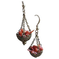 Vintage Natural Coral Pierced Earrings