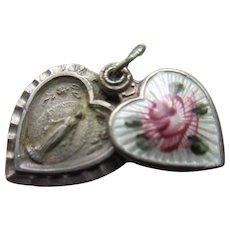 Vintage Sterling Enameled Miraculous Medal Charm