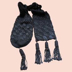Victorian Antique Misers Purse Black Beaded Bag