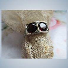 Deco 18K 2CT TW Garnet Ring Circa 1930