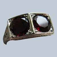 Deco 18K 2CT TW Garnet Ring Circa 1930