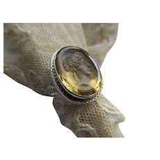 Deco 20s 30s Carved Citrine Intaglio Ring in 14K White Gold Filigree