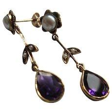 Antique 10K Amethyst Cultured Pearl Pierced Drop Earrings