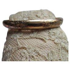 Antique Gold Fill Bangle Bracelet Floral Design