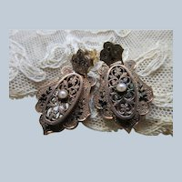 Victorian 10K Pierced Enameled Earrings with Seed Pearl Accents