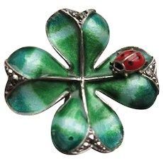 Vintage Sterling Enameled Shamrock Four Leaf Clover Pin LadyBug Germany