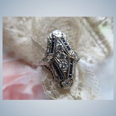 Deco circa 1920 Diamond Sapphire Ring in 18K White Gold Filigree