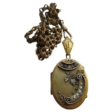 Victorian Aesthetic Period Locket Necklace Gold Fill