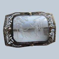 Vintage Sterling Reversed Carved Crystal Mythological Pin
