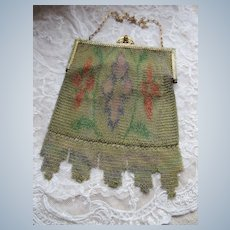 Circa 1920 Dresden Mesh Evening Bag Enameled Frame