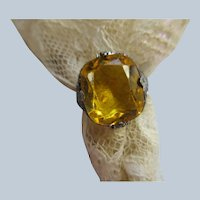 Vintage Deco Sterling Filigree Citrine Colored Glass Ring