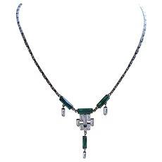 Deco circa 1920 Sterling Crystal Necklace