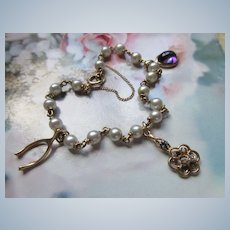 Older Vintage 14K Cultured Pearl Charm Bracelet Amethyst and Diamond Charms