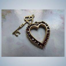 Older Vintage 14K Key and 10K Garnet Heart Charm