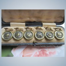 Victorian Set Boxed Antique Buttons Hunt Theme Dated 1847
