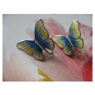 Sterling Enameled Butterfly Screwbacks