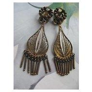 800 Silver Enameled Clip On Earrings