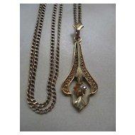 10K Diamond Lavalier on Gold Fill Chain    Art Deco