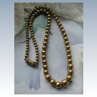 Wonderfully Old Beaded Necklace in Gold Fill