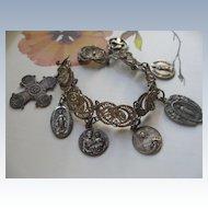 800 Spun Silver Religious Charm Bracelet