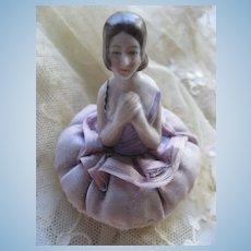 Art Deco Porcelain Half Doll Powder Puff