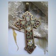 Victorian Enameled Cross Pendant