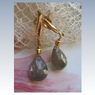 14K Faceted Tourmaline Drop Pierced Earrings