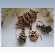 Victorian 10K Pin & Pierced Earrings
