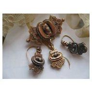 Victorian 10K Pin & Pierced Earrings