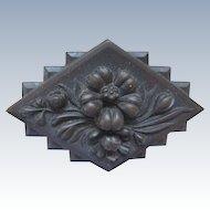 Victorian Vulcanite Pin   Flowers