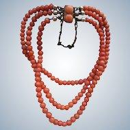 Antique Natural Coral Bracelet in Gold Fill