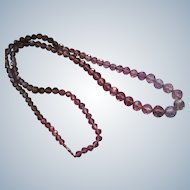 Circa 1920 Faceted Amethyst Beaded Necklace  14K Clasp