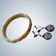 Celluloid Bracelet & Screw Back Earrings
