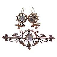 Victorian 10K Paste Pin & Paste Earrings in Gold Fill