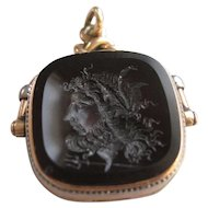 "10K Intaglio Locket Spinner Fob  Poseidon ""God Of The Seas"" Creator of Horses"