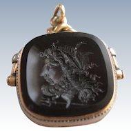 "10K Intaglio Locket Spinner Fob  Poseidon ""God Of The Seas"" Creator of Horses"