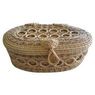 Native American Basket , Hand Made Grass Basket, Pink Lining