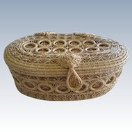 Native American Basket , Hand Made Grass Basket, Pink Lining