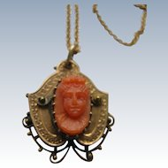 Victorian 10 K Coral Cameo Necklace,  Fine Estate Jewelry