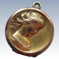 Antique Art Nouveau Lady Locket Charm in Gold Fill