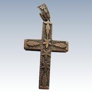 Victorian 10K Cross Pendant, Gold Cross, Antique Devotional