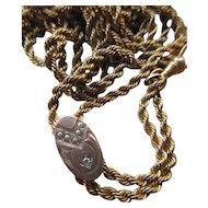 Victorian Ladies Watch Chain, Seed Pearl Diamond Slide