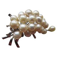 Vintage Japanese Silver Cultured Pearl Pin