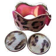 Bergere Faux Leopard Bracelet and Clip On Earrings