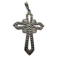 Vintage Sterling Marcasite Cross Pendant
