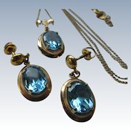 Amco Faceted Blue Crystal Necklace and Earrings, Circa 1930