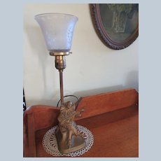 Deco Perriot Lute Player Boudoir Table Lamp 1920'S , signet APT NY