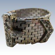 Retro Diamond 14K White Gold Buckle Ring