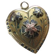 Vintage Paste Heart Locket in Gold Fill, Romantic Vintage Valentines